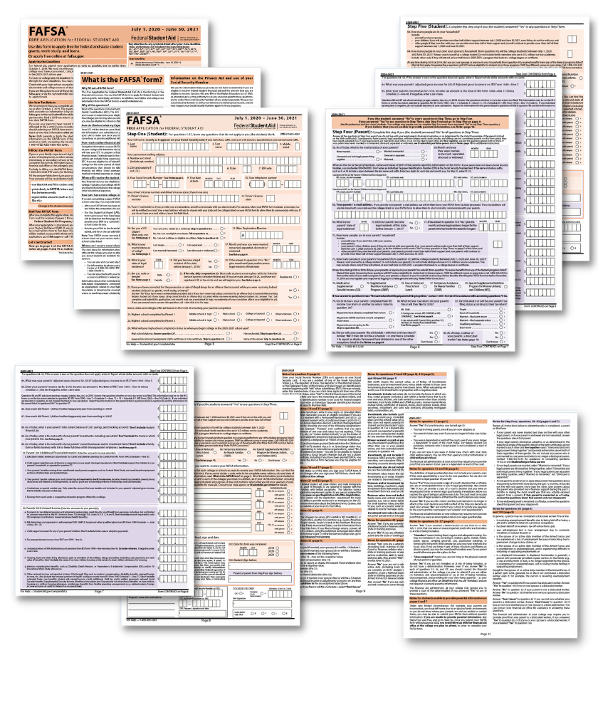 Every page of the FAFSA