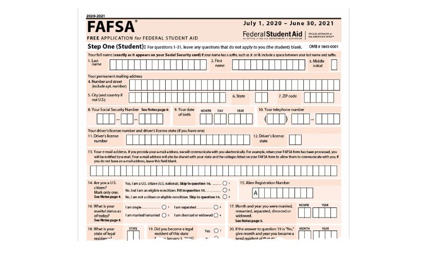FAFSA student info
