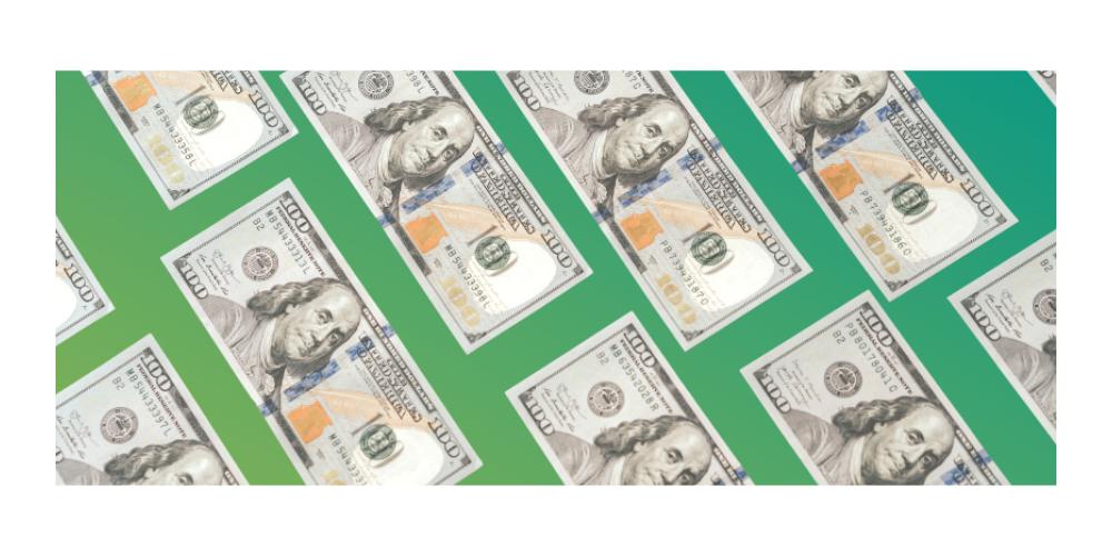 dollar bills on green gradient background